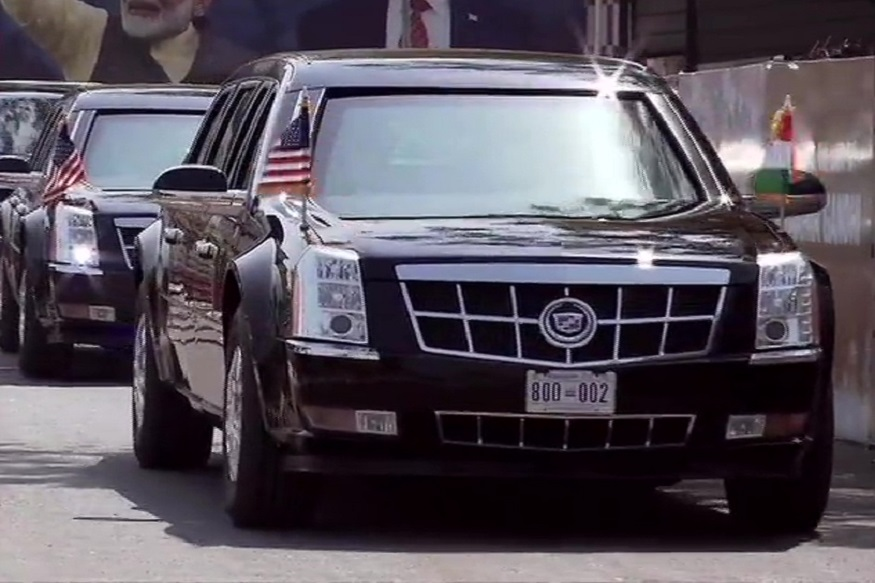 Donald Trump's Presidential Limousine 'The Beast' Reaches Rashtrapati Bhawan in Delhi; A Look