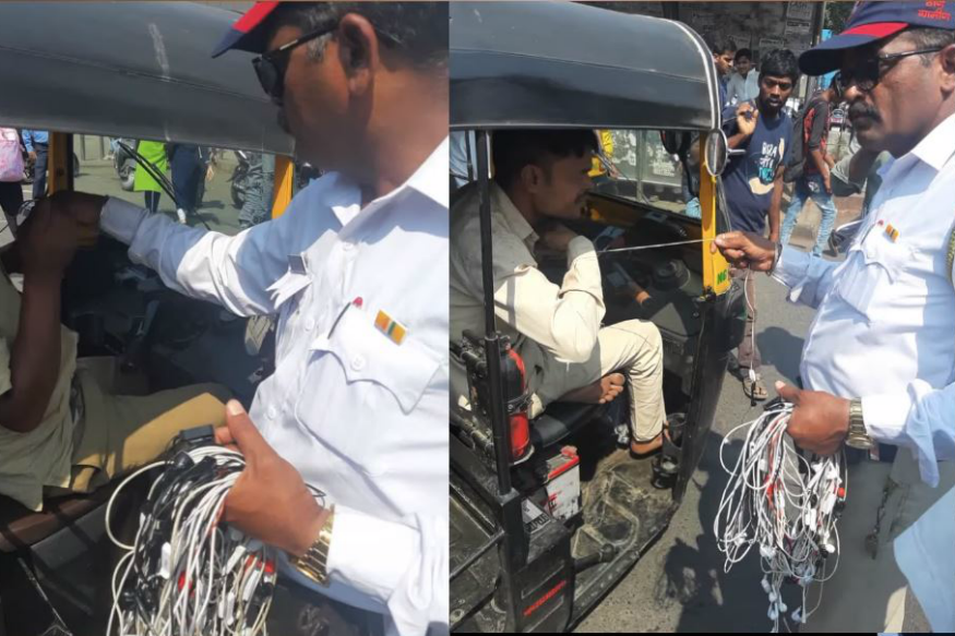 Mumbai Traffic Police Burn Hoards of Headphones of Autorickshaw Drivers