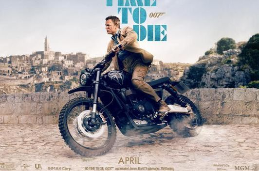 James Bond actor Daniel Craig on the Triumph Scrambler 1200 XC XE in a poster of the upcoming movie No Time to Die. (Photo Courtesy: Instagram/<a href=