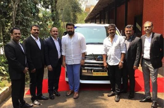 Superstar Mohanlal with his Toyota Vellfire Luxury MPV