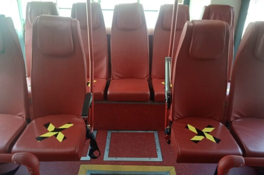 Image of Spicejet Airport Bus Indicates Future of Travel With Social Distancing Rules Post Lockdown